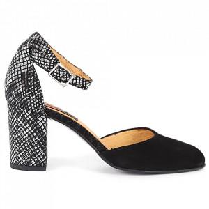 Pantofi cu toc din piele naturală Cod 1200 Negri - Pantofi cu toc din piele naturală moale cu imprimeu discret de piele de șarpe  Foarte comozi, acești pantofi vă conferă lejeritate și eleganță - Deppo.ro