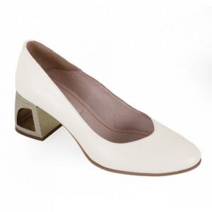 Pantofi cu toc din piele naturală cod 203 Crem
