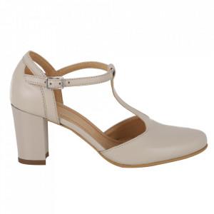 Pantofi cu toc din piele naturală cod 223 BEJ