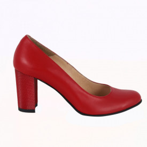 Pantofi cu toc din piele naturală cod 823 Red