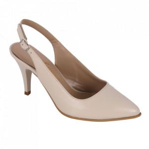 Pantofi cu toc din piele naturală cod 825 Bej