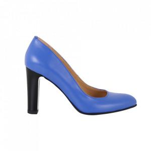 Pantofi cu toc din piele naturală cod 86-1 Albastru