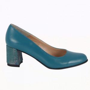 Pantofi cu toc din piele naturală cod P852 Turcoaz