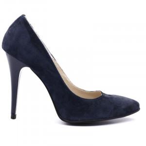 Pantofi Cu Toc din piele naturală cod R007 Albaştri - Pantofi din piele naturală întoarsă cu toc subţire, confortul purtării este sporit de tălpicul din piele - Deppo.ro