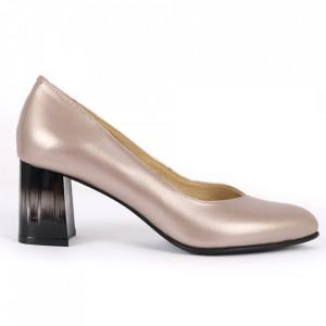 Pantofi cu toc din piele naturală Cod S20 Crom