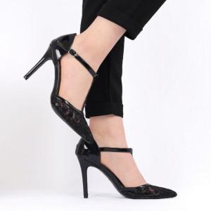 Pantofi cu toc pentru dame cod G3 Black - Pantofi cu toc pentru dame din piele ecologică  Model cu dantelă  Închidere prin baretă  Conferă lejeritate și eleganță - Deppo.ro