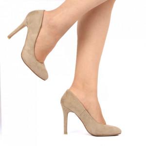 Pantofi cu toc pentru dame cod TGLGW Beige - Pantofi cu toc pentru dame din piele ecologică întoarsă  Conferă lejeritate și eleganță - Deppo.ro