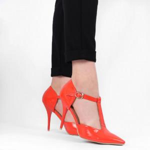 Pantofi cu toc pentru dame cod ZR212 Orange - Pantofi cu toc pentru dame din piele ecologică lăcuită Conferă lejeritate și eleganță - Deppo.ro