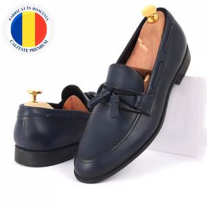 Pantofi din piele naturală albaştri cod 3281