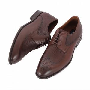 Pantofi din piele naturală Anton Maro Închis - Pantofi maro din piele naturală, model simplu, finisaje îngrijite cu undesing deosebit prin vârful perforat - Deppo.ro