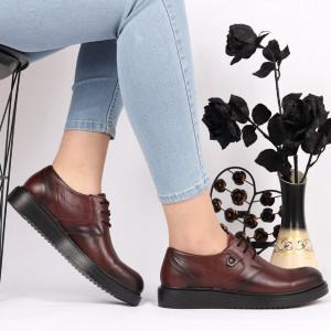 Pantofi din piele naturală bordo Cod 1048