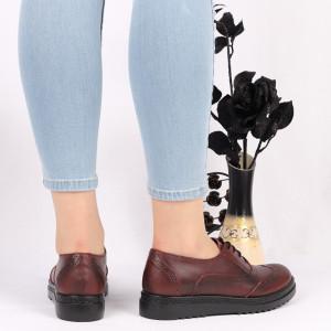 Pantofi din piele naturală bordo Cod 2499 - Pantofi damă din piele naturală Închidere cu şiret Calapod comod - Deppo.ro