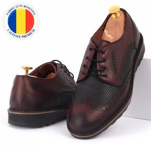 Pantofi din piele naturală bordo cod 77125