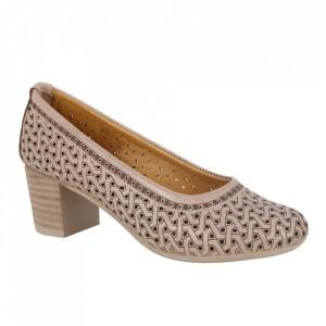 Pantofi din piele naturală cod 1067 Bej