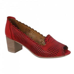 Pantofi din piele naturală cod 1071 Red