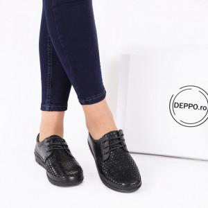 Pantofi din piele naturală cod 16740 Negri