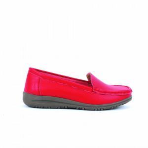 Pantofi din piele naturală cod 201 Roși - Pantofi pentru dame din piele naturală cu talpă flexibilă - Deppo.ro