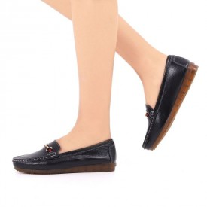 Pantofi din piele naturală cod 301 Negri - Pantofi negri pentru dame din piele naturală cu talpă flexibilă - Deppo.ro