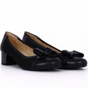 Pantofi din piele naturală Cod 4858 Negri