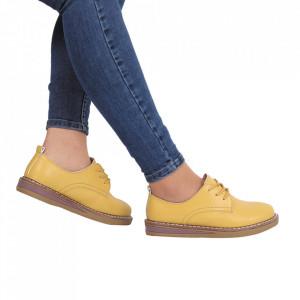 Pantofi din piele naturală cod 6552 Yellow