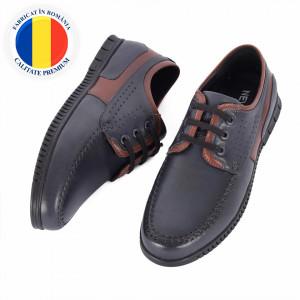 Pantofi din piele naturală cod 9022 Albastru