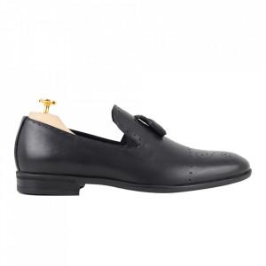 Pantofi din piele naturală cod 940-1 negru