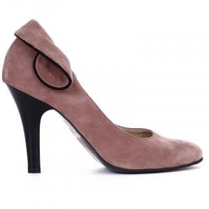 Pantofi din piele naturală cu toc cod RAX429 Purple