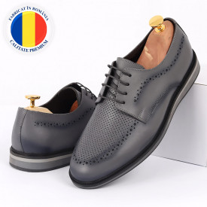 Pantofi din piele naturală gri cod 77131