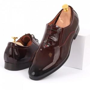 Pantofi din piele naturală lăcuită bordo cod 8671