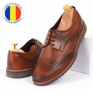 Pantofi din piele naturală maro cod 3225
