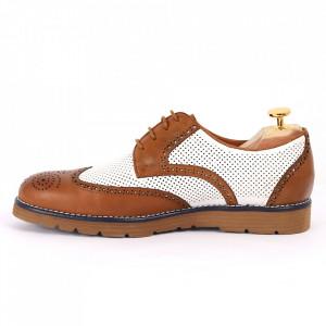 Pantofi din piele naturală maro cu alb cod 3258 - Pantofi pentru bărbaţi din piele naturală cu şiret, model simplu, finisaje îngrijite cu un design deosebit - Deppo.ro