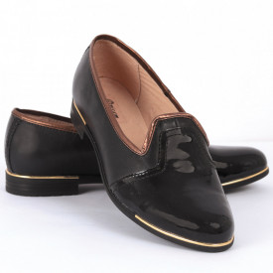 Pantofi din piele naturală negri Cod 1253