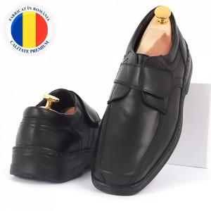 Pantofi din piele naturală negri cod 3294