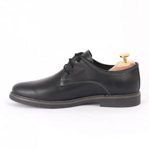 Pantofi din piele naturală negri cod Alex Negru - Pantofi pentru bărbaţi din piele naturală, model simplu, finisaje îngrijite cu undesign deosebit - Deppo.ro