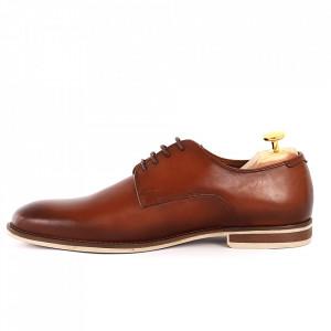 Pantofi din piele naturală pentru bărbați cod 176AB Maro - Pantofi din piele naturală moale pentru bărbați, model simplu, finisaje îngrijite - Deppo.ro