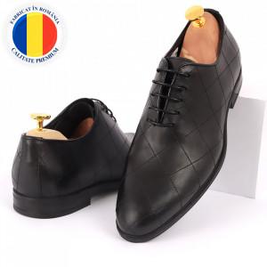 Pantofi din piele naturală pentru bărbați cod 2020 Negri