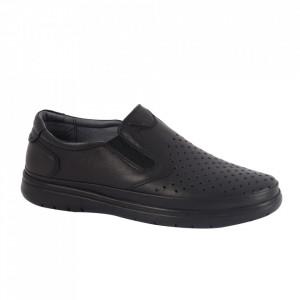 Pantofi din piele naturală pentru bărbați cod 204328 Negru