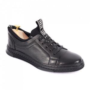 Pantofi din piele naturală pentru bărbați cod 302-1 Negru
