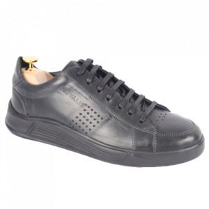 Pantofi din piele naturală pentru bărbați cod 329-1 Negru