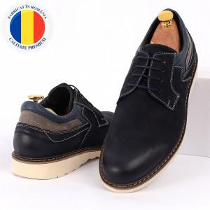 Pantofi din piele naturală pentru bărbați cod 350 Albastri