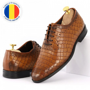 Pantofi din piele naturală pentru bărbați cod 9133 Maro