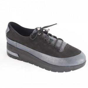 Pantofi din piele naturală pentru dame cod 305 N+B