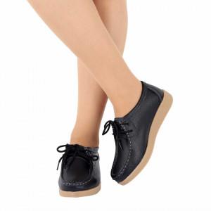 Pantofi din piele naturală pentru dame cod 8517 Negri - Pantofi pentru dame din piele naturală cu talpă flexibilă - Deppo.ro