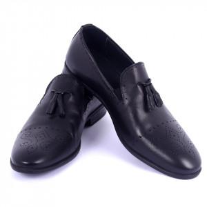 Pantofi din piele naturală Tristan Black - Pantofi din piele naturală interior-exterior ideali la ținute casual sau elegante cu un calapod comod - Deppo.ro