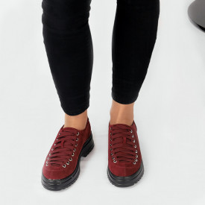Pantofi pentru dame cod 1466D2 Maroon - Pantofi pentru dame, din piele ecologica întoarsă cu închidere prin șiret - Deppo.ro
