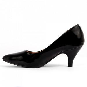 Pantofi pentru dame cod 4C0032 Black - Pantofi cu toc din piele ecologică lăcuită Toc  subțire Calapod comod - Deppo.ro