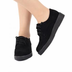 Pantofi pentru dame cod SCD15 Negri - Pantofi din piele ecologică întoarsă cu talpă flexibilă și închidere prin șiret. - Deppo.ro