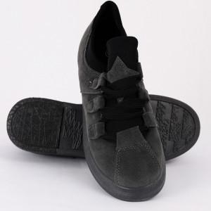 Pantofi Sport cod XY296 Gri - Pantofi sport din piele ecologică întoarsă  Închidere prin șiret  Foarte comfortabili - Deppo.ro