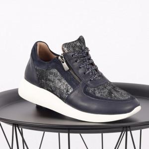 Pantofi sport din piele naturală albastră Cod 495 - Pantofi damă din piele naturală, foarte confortabili cu un tălpic special care conferă lejeritate chiar și în cazurile în care petreci mult timp stând în picioare. - Deppo.ro