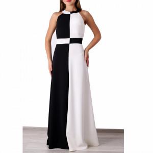 Rochie Giuliana Alb/Negru - Rochie alb cu negrulungă de ocazie, foarte elastică,ușor de accesorizat, simte-te atrăgătoare purtând această rochie și strălucește la urmatoarea petrecere. - Deppo.ro